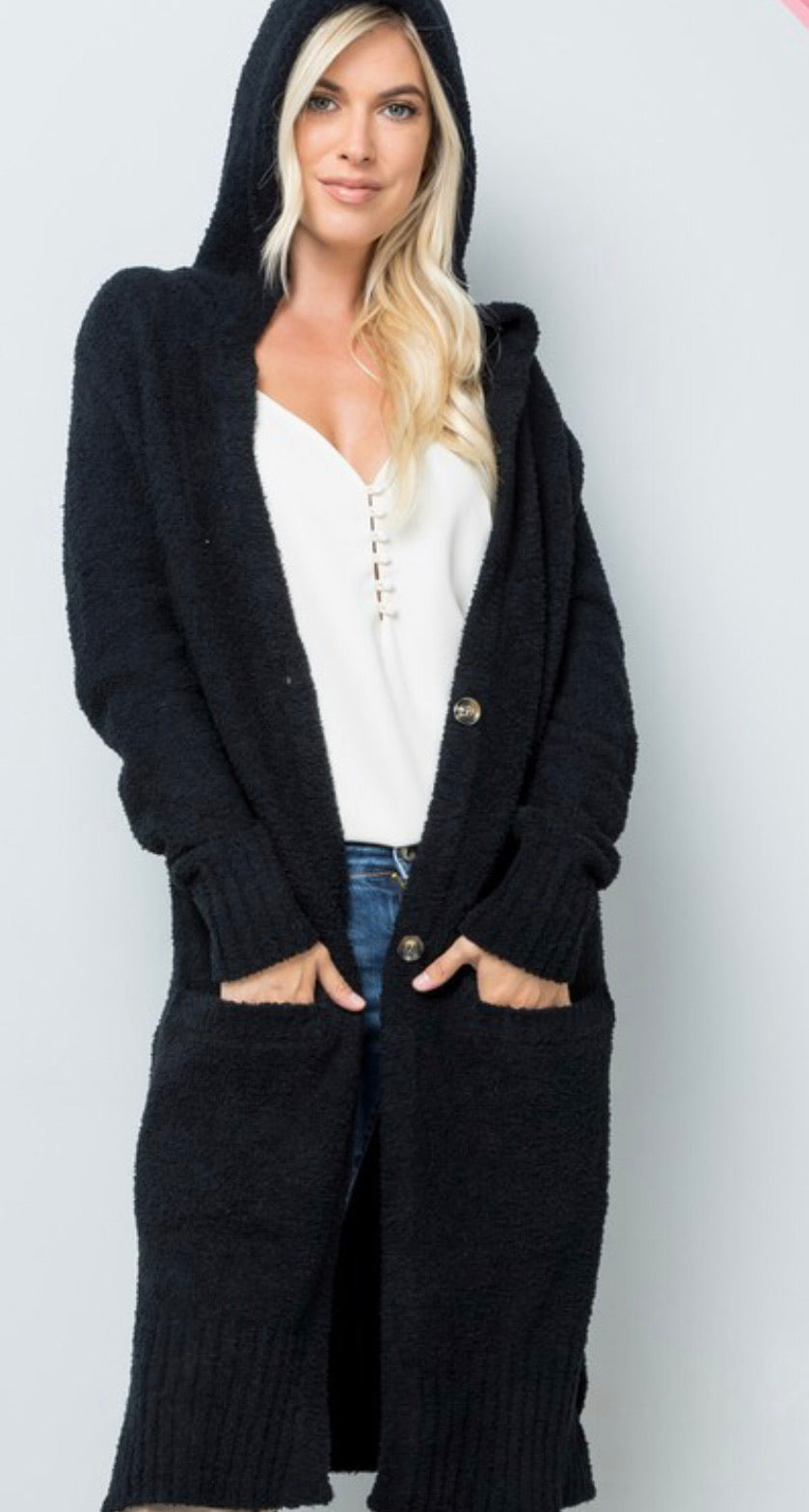 Hooded Soft Long Cardigan-Plus Sizes