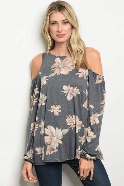 Bethany Floral Cold Shoulder Top