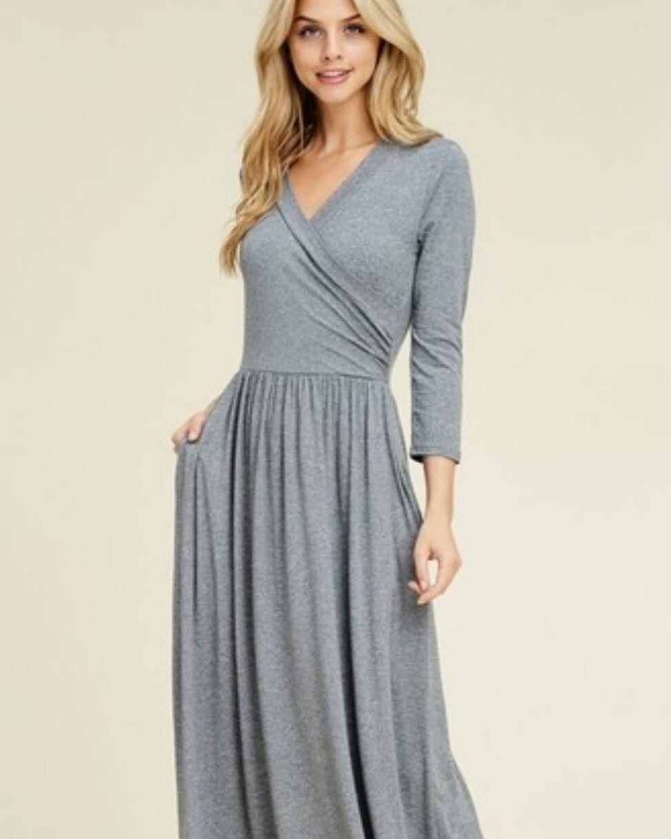 Gray Area Faux Wrap Dress