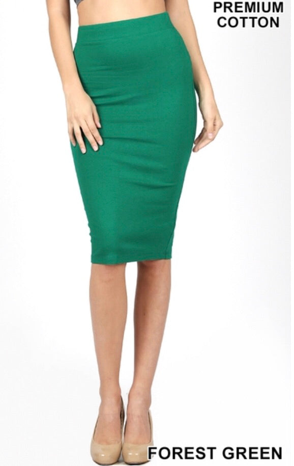 Pencil Skirt-Forest Green