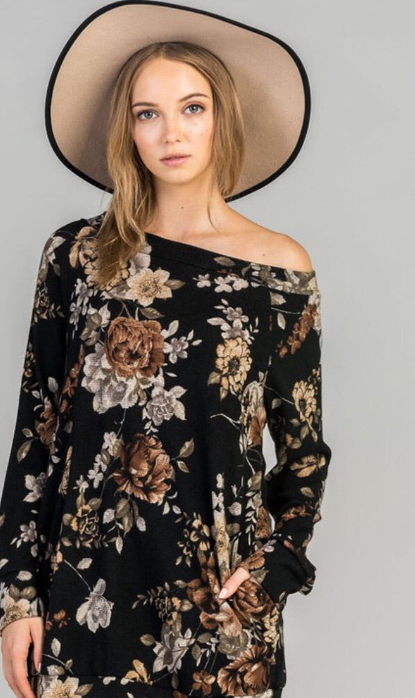 Rustic Floral boatneck Sweater