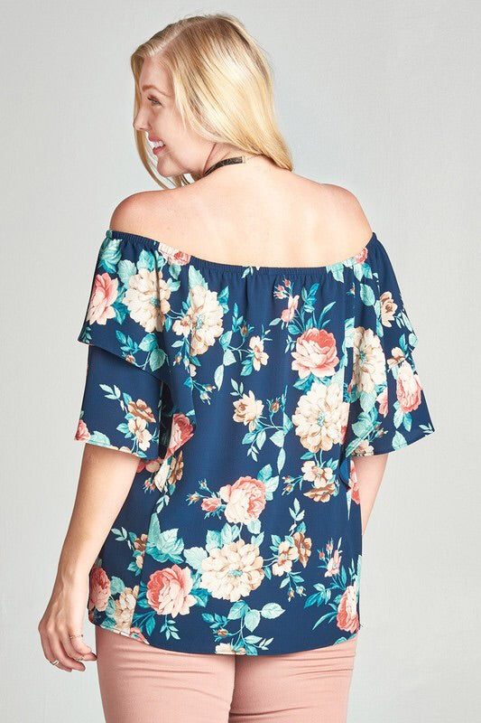 Jazzy Floral Ots Top-Plus