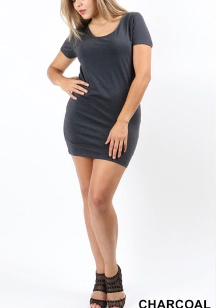 Jessie Mini Dress Regular & Plus (Charcoal)