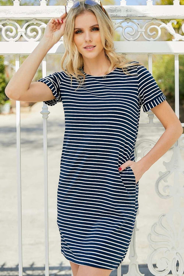 Striped Button-Back Dress Regular and Plus