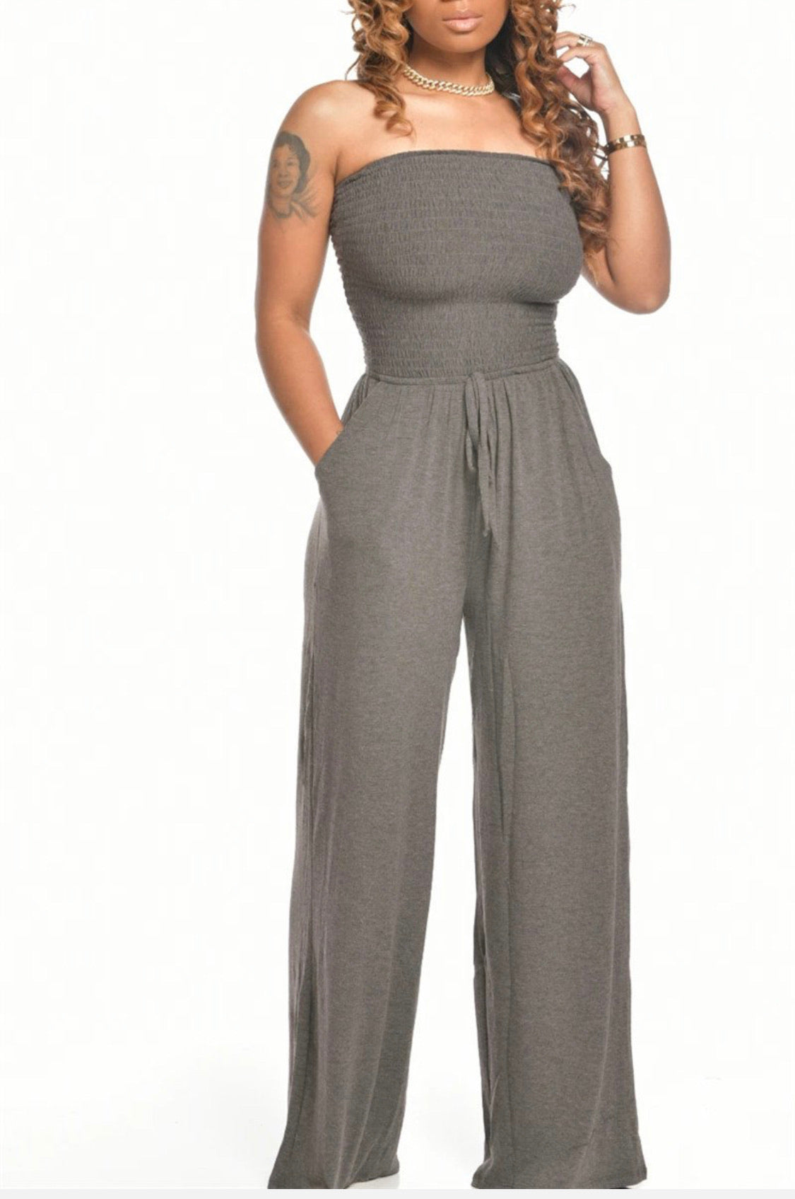 Sleeveless in Seattle Jumpsuit-Ash Grey