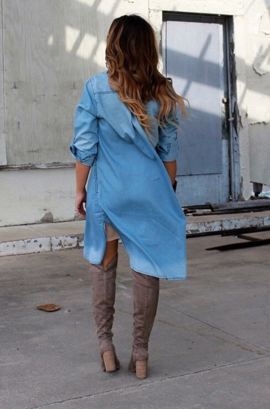 Denim Tunic-Light Wash