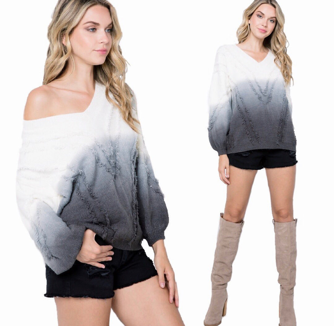 Ombre Babe Sweater Charcoal