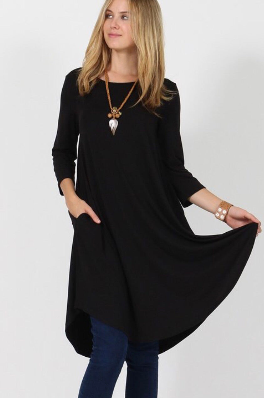 Basic Swing Dress-Black Plus Sizes
