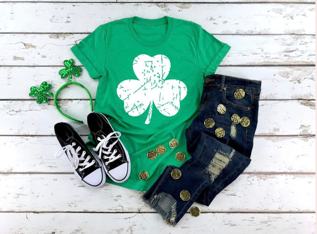 Distressed Clover Graphic Tee
