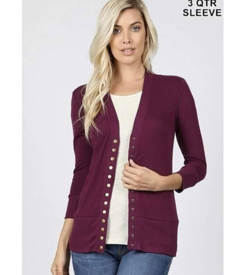 Snap Closure Cardigan-Plus Sizes