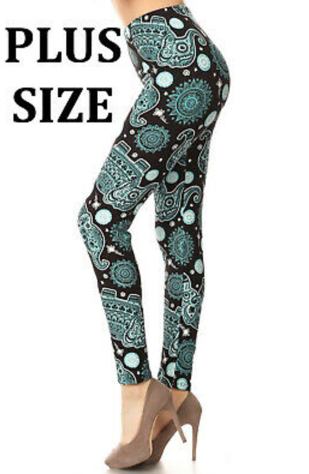 Teal Elephant Leggings Plus