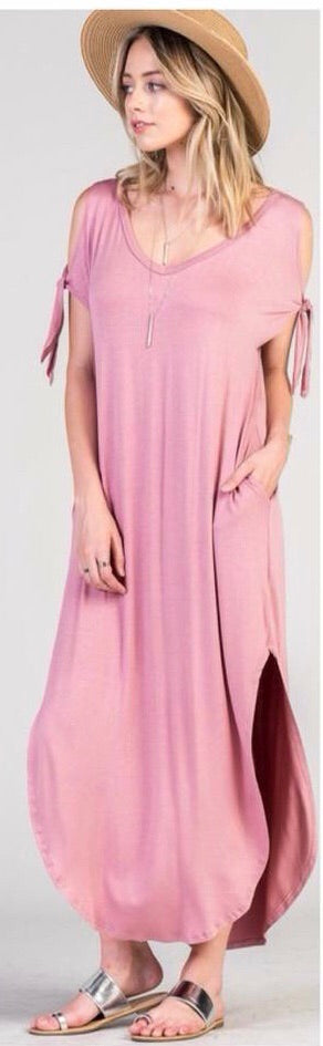 All Tied Up Cold Shoulder Dress