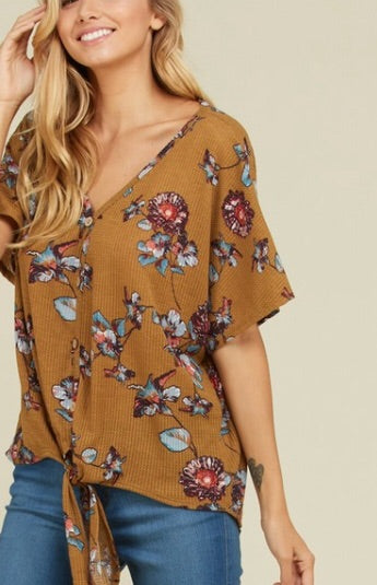 Floral Kisses Tie Front Top