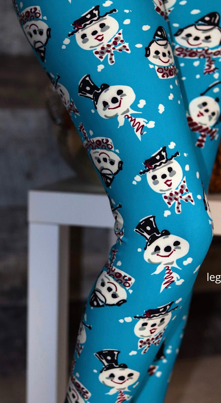 Teal Snowman Leggings-OS