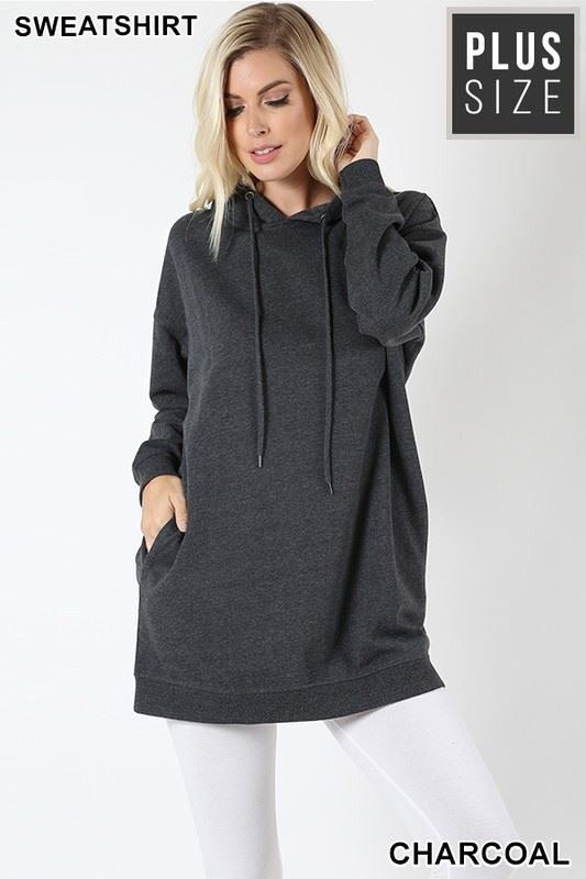 Hooded Sweatshirt-Regular & Plus Sizes (Charcoal)