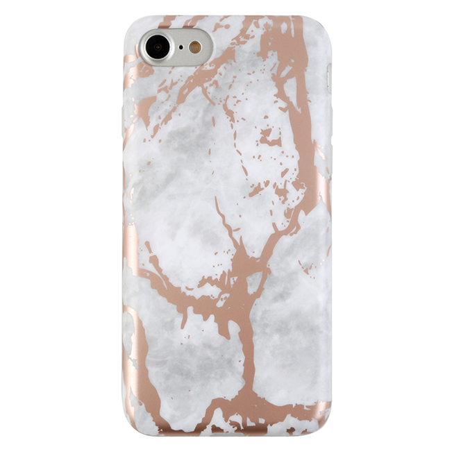 new arrival e1701 8cc52 WHITE MARBLE ROSE GOLD CHROME IPHONE CASE
