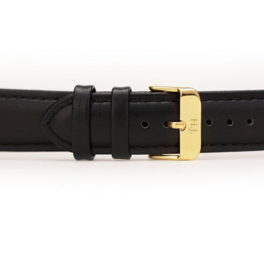 Harvey James Watches - Gold | Jet Black Leather Strap