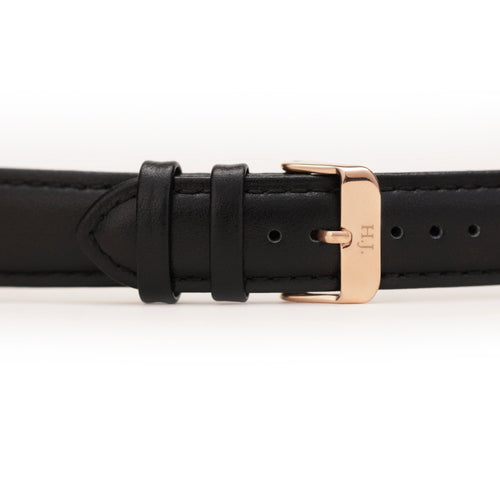 Harvey James Watches - Rose Gold | Jet Black Leather Strap