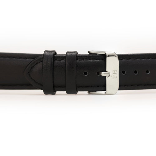 Harvey James Watches - Silver | Jet Black Leather Strap