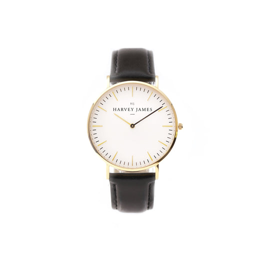 Harvey James Watches - Classic Gold Watch | Jet Black Leather Strap