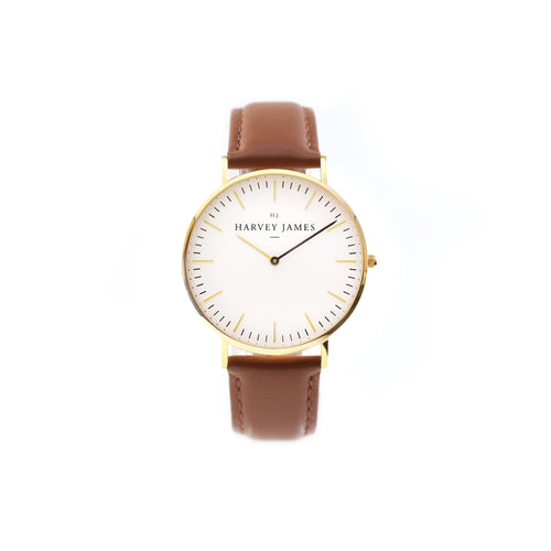 Harvey James Watches - Classic Gold Watch | Chocolate Brown Leather Strap
