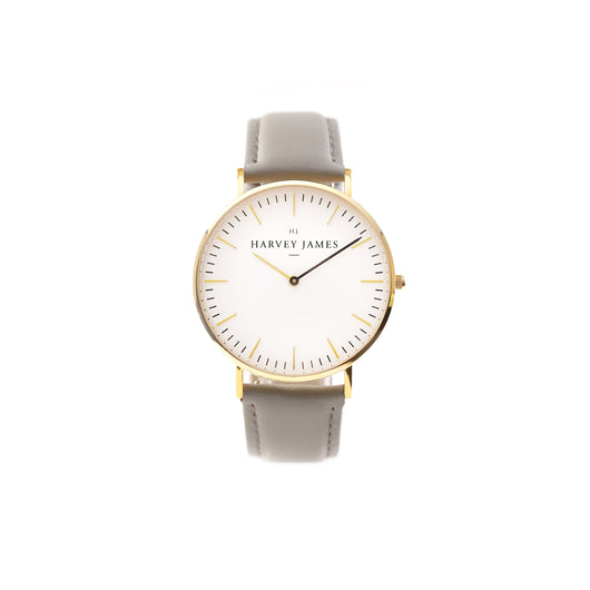 Harvey James Watches - Classic Gold Watch | Cadet Grey Leather Strap