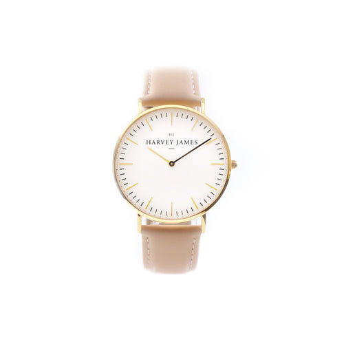 Harvey James Watches - Classic Gold Watch | Blush Pink Leather Strap