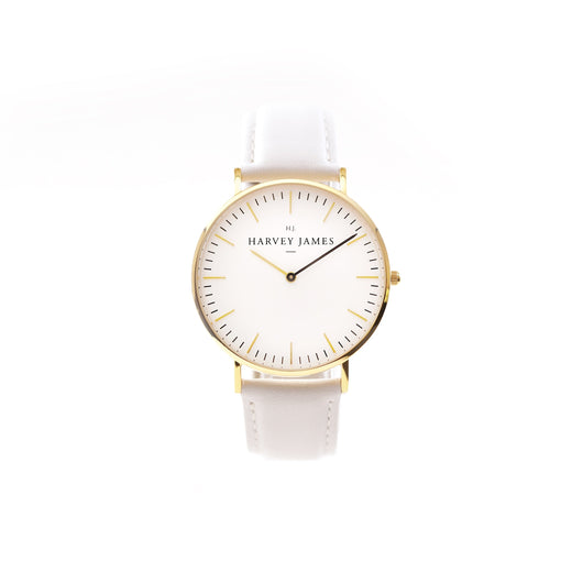 Harvey James Watches - Classic Gold Watch | Pure White Leather Strap
