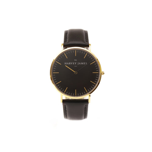 Harvey James Watches - Midnight Gold Watch | Jet Black Leather Strap
