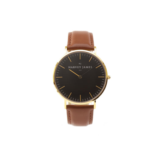 Harvey James Watches - Midnight Gold Watch | Chocolate Brown Leather Strap