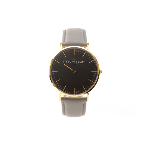 Harvey James Watches - Midnight Gold Watch | Cadet Grey Leather Strap