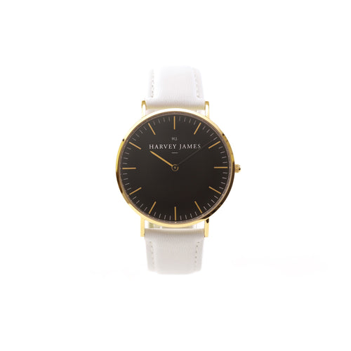 Harvey James Watches - Midnight Gold Watch | Pure White Leather Strap
