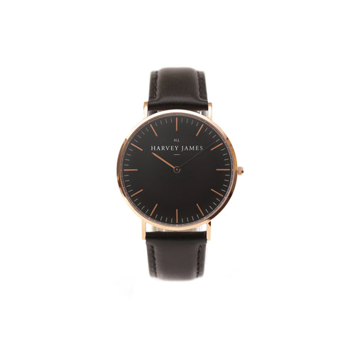 Harvey James Watches - Midnight Rose Gold Watch | Jet Black Leather Strap