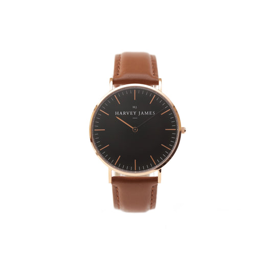 Harvey James Watches - Midnight Rose Gold Watch | Chocolate Brown Leather Strap