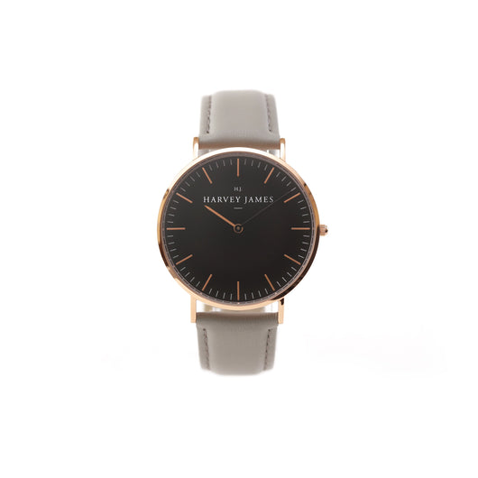 Harvey James Watches - Midnight Rose Gold Watch | Cadet Grey Leather Strap