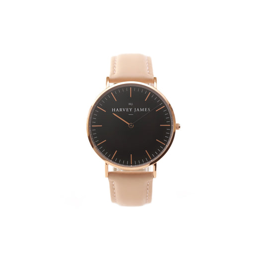 Harvey James Watches - Midnight Rose Gold Watch | Blush Pink Leather Strap