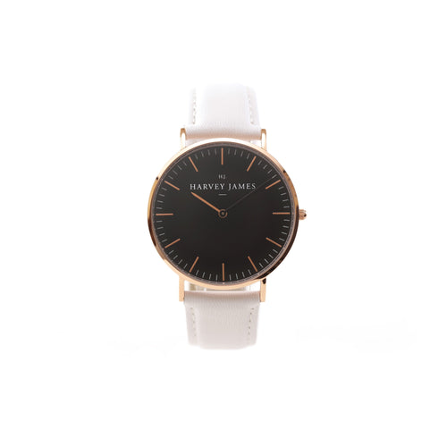 Harvey James Watches - Midnight Rose Gold Watch | Pure White Leather Strap