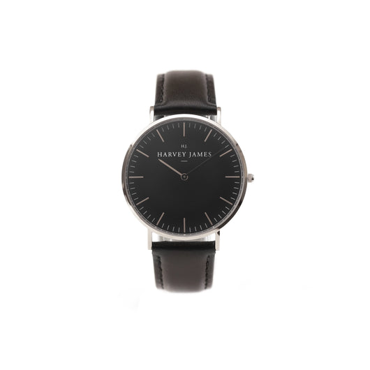 Harvey James Watches - Midnight Silver Watch | Jet Black Leather Strap