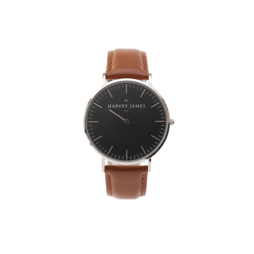 Harvey James Watches - Midnight Silver Watch | Chocolate Brown Leather Strap