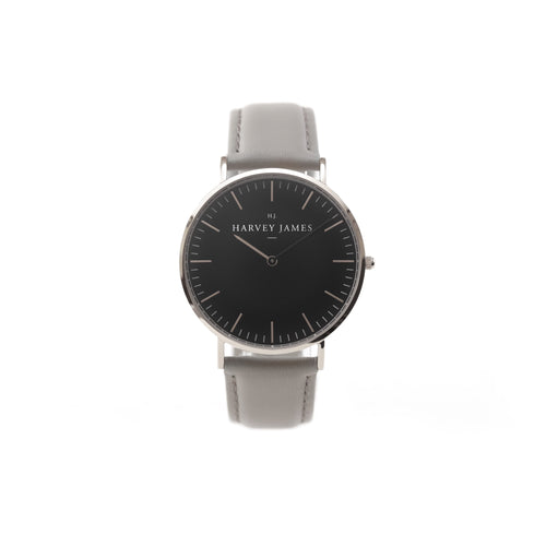 Harvey James Watches - Midnight Silver Watch | Cadet Grey Leather Strap