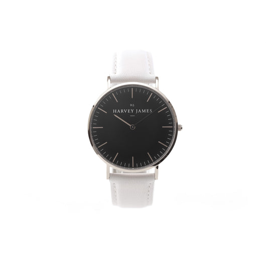 Harvey James Watches - Midnight Silver Watch | Pure White Leather Strap