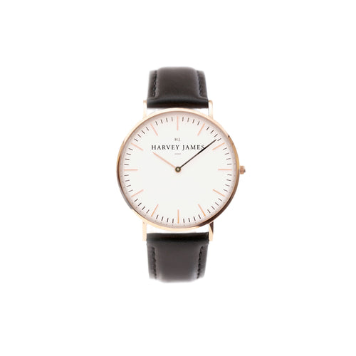 Harvey James Watches - Classic Rose Gold Watch | Jet Black Leather Strap