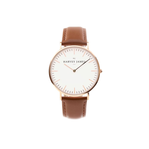 Harvey James Watches - Classic Rose Gold Watch | Chocolate Brown Leather Strap