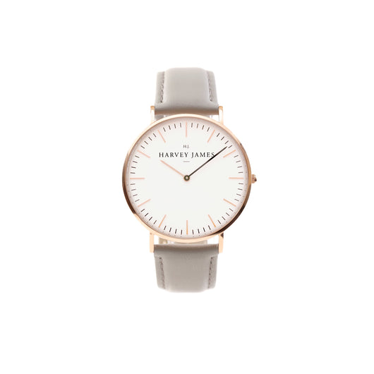 Harvey James Watches - Classic Rose Gold Watch | Cadet Grey Leather Strap