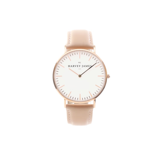 Harvey James Watches - Classic Rose Gold Watch | Blush Pink Leather Strap