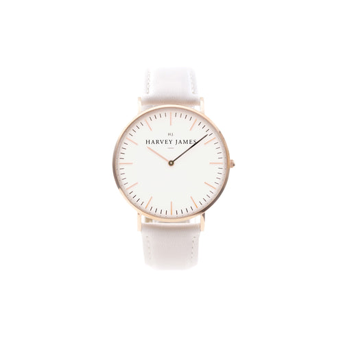 Harvey James Watches - Classic Rose Gold Watch | Pure White Leather Strap