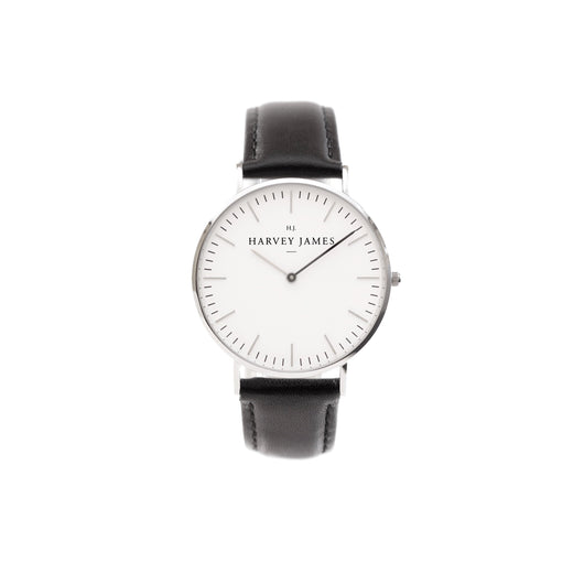 Harvey James Watches - Classic Silver Watch | Jet Black Leather Strap