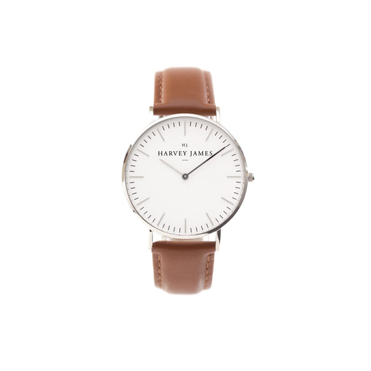 Harvey James Watches - Classic Silver Watch | Chocolate Brown Leather Strap