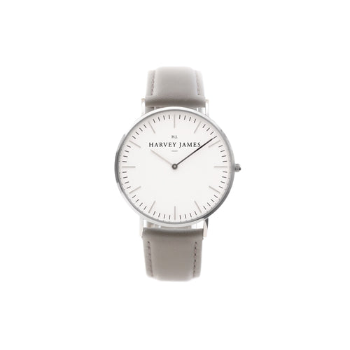Harvey James Watches - Classic Silver Watch | Cadet Grey Leather Strap