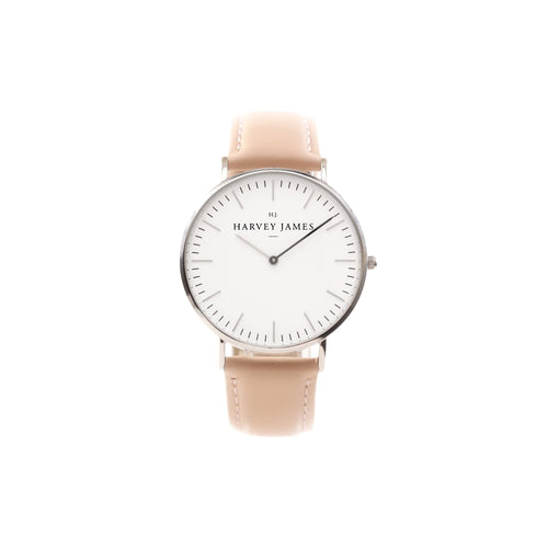 Harvey James Watches - Classic Silver Watch | Blush Pink Leather Strap